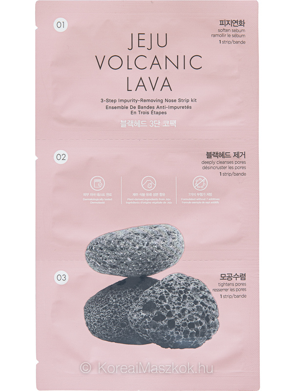 The Face Shop Jeju Volcanic Lava 3-Step Impurity Removing Nose Strip Kit pórustisztító program