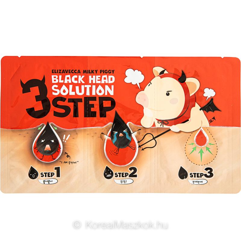 Elizavecca Milky Piggy Black Head Solution 3 Step Kit mitesszer eltávolító tapaszok