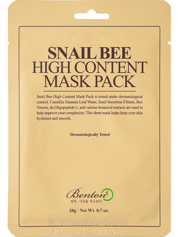 Benton Snail Bee High Content Mask - ragyogásfokozó fátyolmaszk