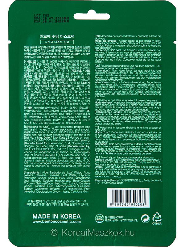 Benton hidratáló aloe vera fátyolmaszk