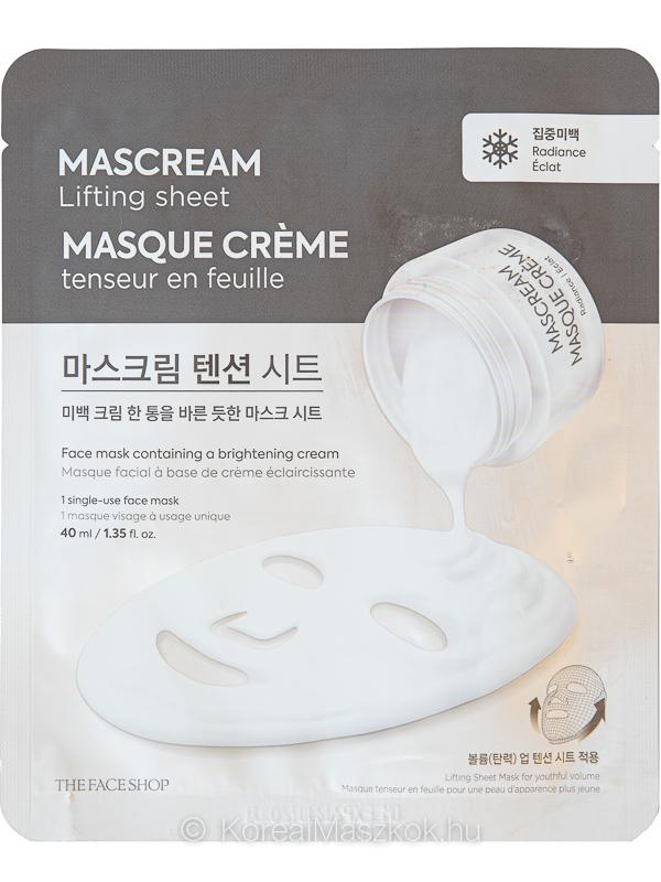 The Face Shop Mascream Lifting Sheet Radiance ragyogásfokozó krém fátyolmaszk
