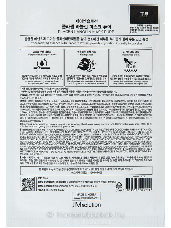 Hidratáló fátyolmaszk placentával és lanolinnal