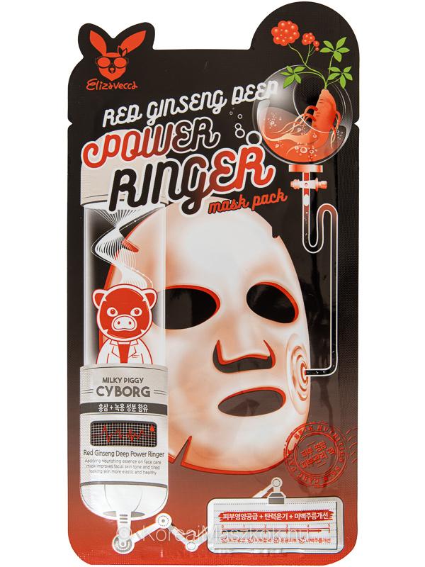Elizavecca Red Ginseng Deep Power Ringer Mask anti-aging ginzeng fátyolmaszk