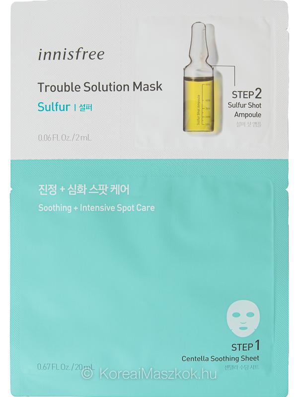 Innisfree Trouble Solution Mask Sulfur fátyolmaszk+ampulla pattanásokra