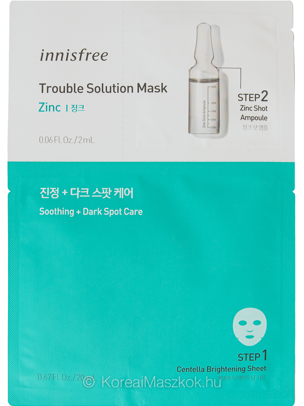 Innisfree Trouble Solution Mask Zinc - fátyolmaszk + ampulla aknés hegekre