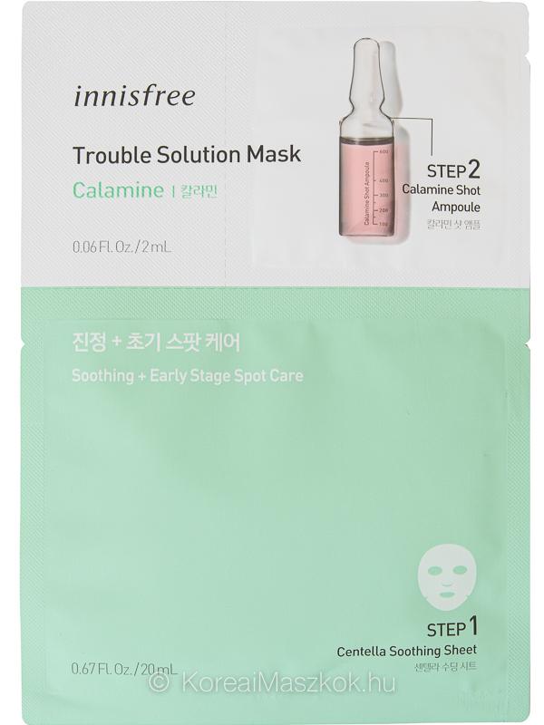 Innisfree Trouble Solution Mask Calamine fátyolmaszk+ampulla pattanások ellen