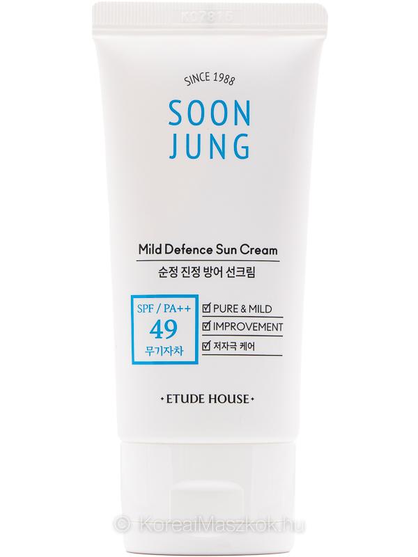 Etude House Soon Jung Mild Defence Sun Cream SPF49 PA++ fényvédő érzékeny bőr