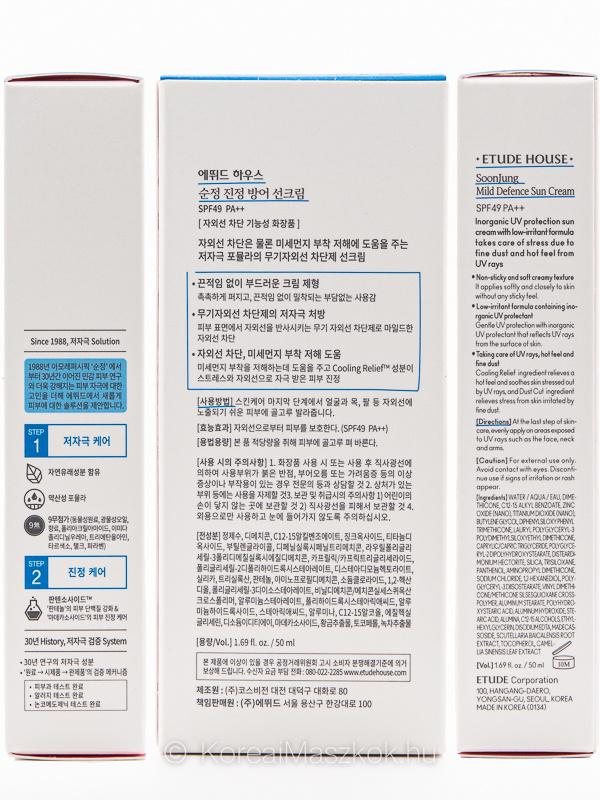 Etude House SoonJung fényvédő arckrém