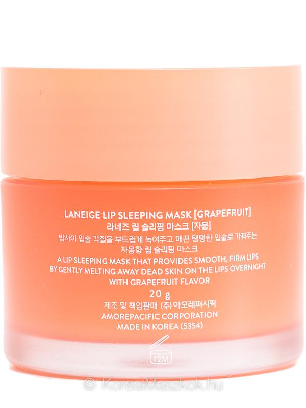 Laneige Lip Sleeping Mask Grapefruit éjszakai ajakmaszk grépfrút íz termékadatlap