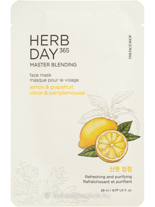The Face Shop Herb Day 365 Master Blending Lemon & Grapefruit - fátyolmaszk