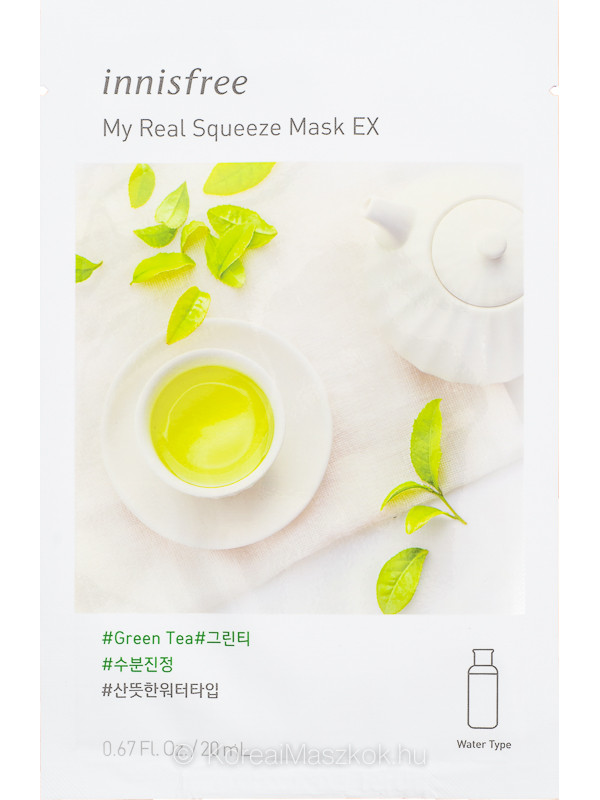 Innisfree My Real Squeeze Mask EX Green Tea - Zöld tea fátyolmaszk