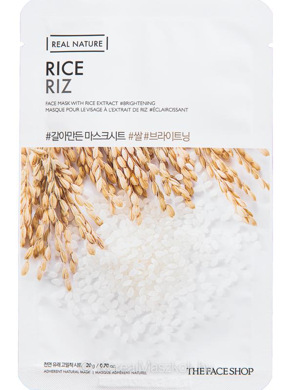 The Face Shop Real Nature Rice - világosító fátyolmaszk rizs kivonattal