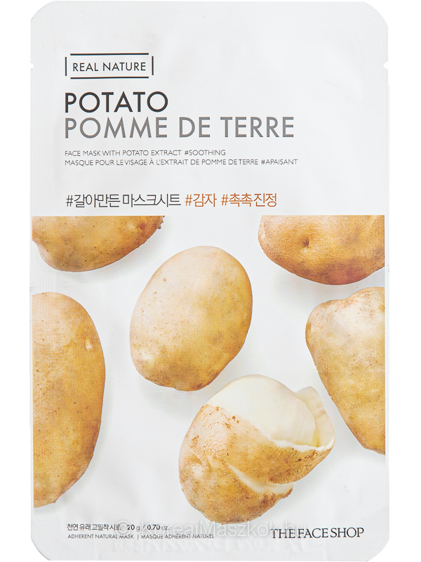 The Face Shop Real Nature Potato hidratáló és bőrnyugtató fátyolmaszk