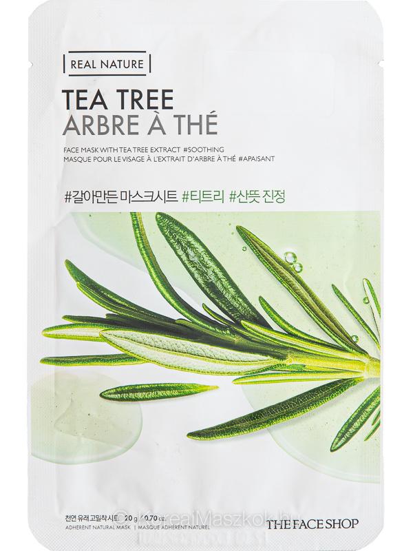 The Face Shop Real Nature Tea Tree frissítő és bőrnyugtató fátyolmaszk