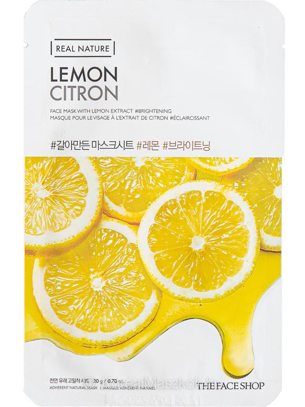 The Face Shop Real Nature Lemon ragyogást adó fátyolmaszk