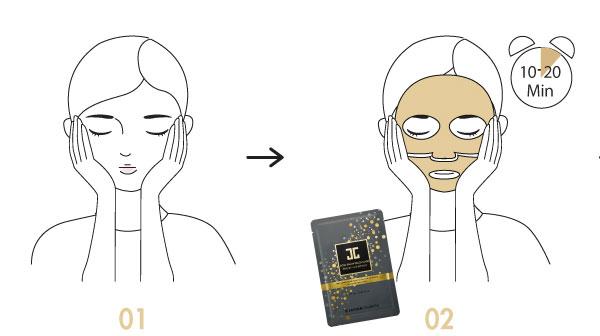 Jayjun Gold Snow Black fátyolmaszk használata