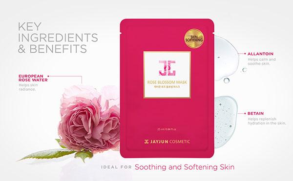 Jayjun Rose Blossom Mask rózsavizes bőrpuhító fátyolmaszk